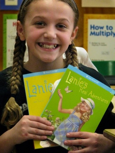 Reader with Lanie Books