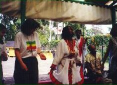 Jan and I (Jane above and Jane below) are trying to learn how to dance the eskista, a popular dance in Ethiopia